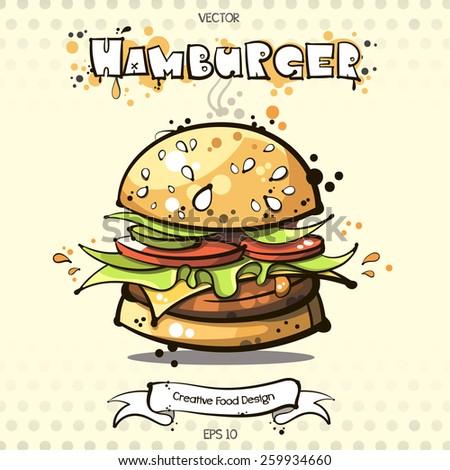 vector. hamburger. burger. sketch art for your design - stock vector
