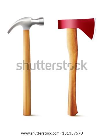 vector hammer and axe illustration - stock vector