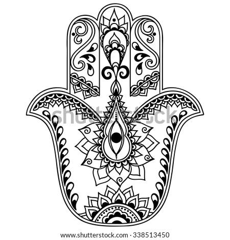 hamsa coloring pages - vector hamsa hand drawn symbol stock vector 341528585