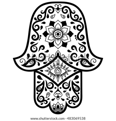 Vector Hamsa Hand Drawn Symbol Decorative Pattern In Oriental Style For The Interior Decoration And