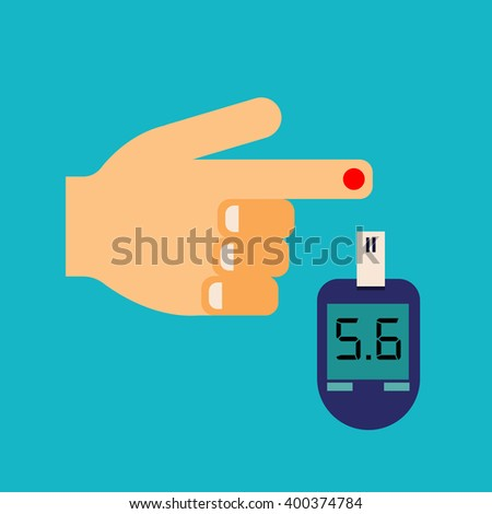 Vector Hand and Blood Sugar Test, with Glaucometer. - stock vector