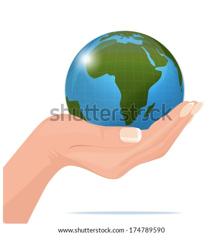 vector hand and earth isolated on white background
