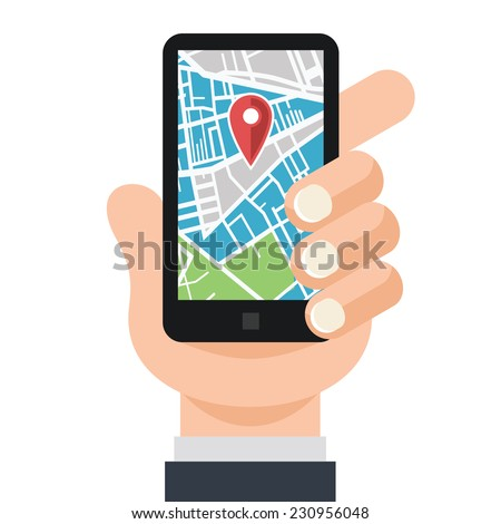 Vector Hand and Smartphone with Map Navigation App on Touch Screen Flat Illustration. Isolated on white background.