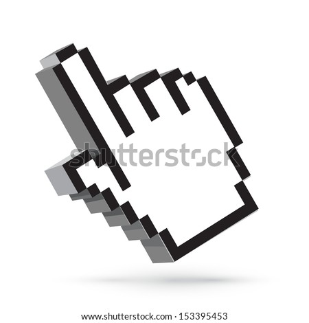 Vector hand arrow cursor. Web design element isolated on white