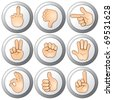 Vector Hand Buttons - stock
