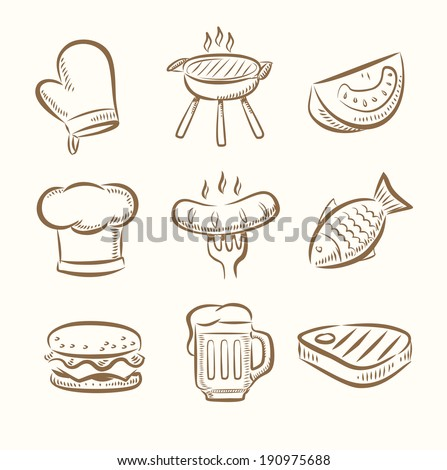 vector hand draw barbecue icon set on beige - stock vector