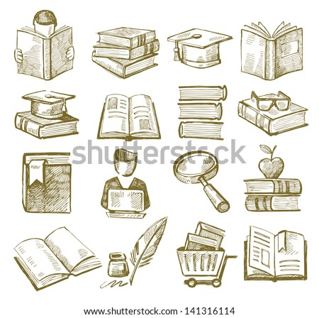 vector hand draw books icons set on white - stock vector