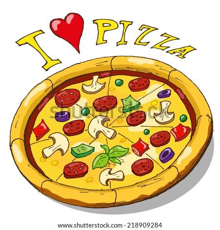Vector hand draw doodle sketch pizza cartoon - stock vector