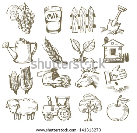 vector hand draw village icon set on white - stock vector
