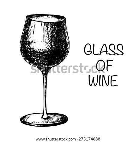 vector hand drawing glass of wine - stock vector