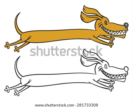 Vector hand drawing image of dog (Dachshund) on white background - stock vector