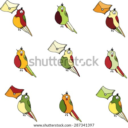 vector hand drawing little post  birds  for  e-mail design