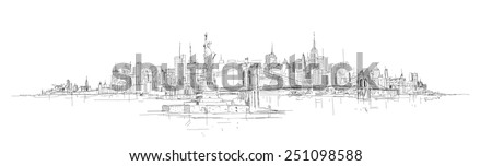 vector hand drawing new york city panorama - stock vector
