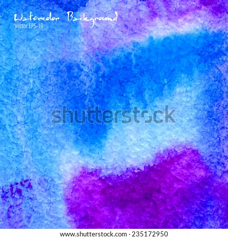 vector hand drawn abstract watercolor illustration blue and purple background - stock vector