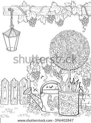 Vector hand-drawn adult-coloring book page in provence style with flowers, vines, lamp. Spring in the garden.