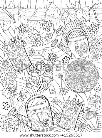 Vector hand-drawn adult-coloring book page in provence style with flowers, vines, lamp. Summer dream. Vintage.