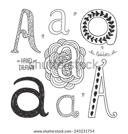 Vector hand drawn alphabet, letter a. Doodle letters set isolated on white background - stock vector