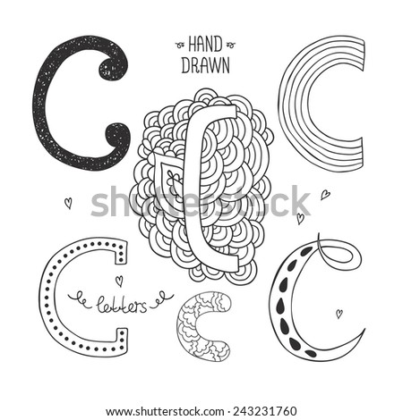 Vector hand drawn alphabet, letter c. Doodle letters set isolated on white background - stock vector