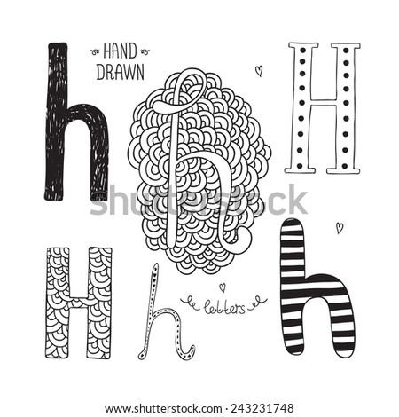 Vector hand drawn alphabet, letter h. Doodle letters set isolated on white background - stock vector