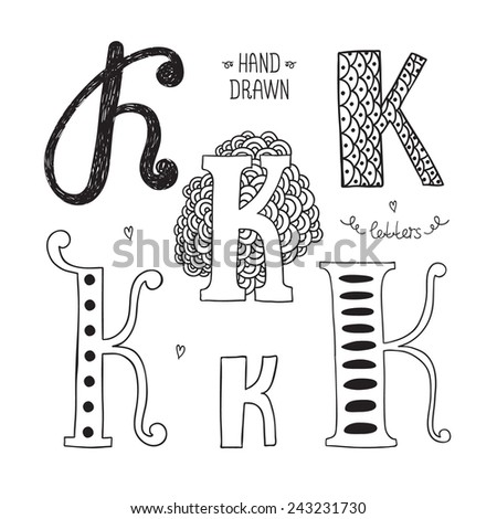 Vector hand drawn alphabet, letter k. Doodle letters set isolated on white background - stock vector