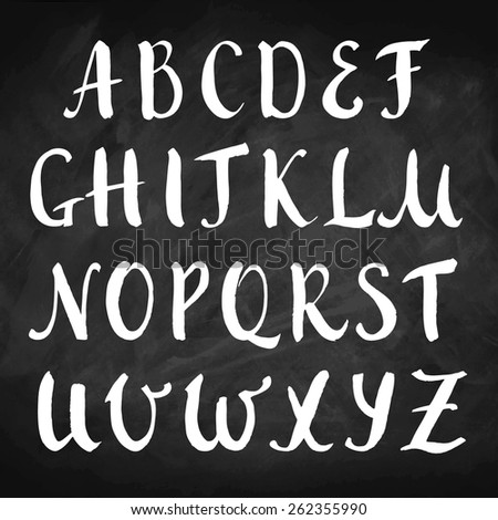 Vector hand drawn alphabet on chalkboard. Brush painted capital letters. Rough contour. - stock vector