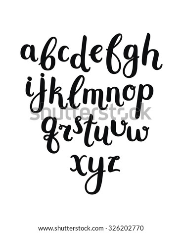Vector Hand Drawn Alphabet on white background. Letters written with a brush pen. Ink abc - stock vector