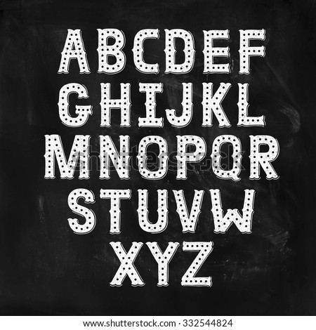Vector Hand Drawn Alphabet with Vintage letters on chalkboard. Decorative Font for accentuation, Ink Letters, abc - stock vector