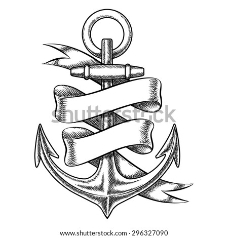 Vector hand drawn anchor sketch with blank ribbon. Nautical isolated object, vintage marine tattoo illustration - stock vector