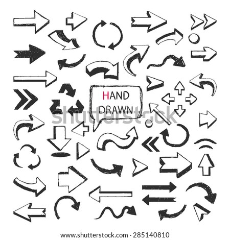 Vector Hand Drawn arrows big set isolated on a white background. - stock vector