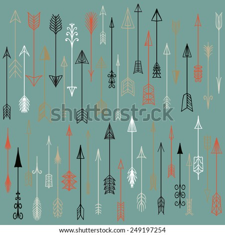 Vector hand drawn arrows collection. Doodle arrows made by hand drawn. Used for your design, cards and invitations. - stock vector