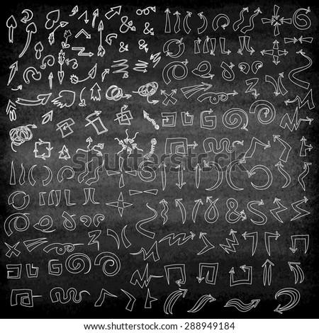 Vector hand drawn arrows icons set on the black blackboard or chalkboard. Abstract vector illustration. - stock vector
