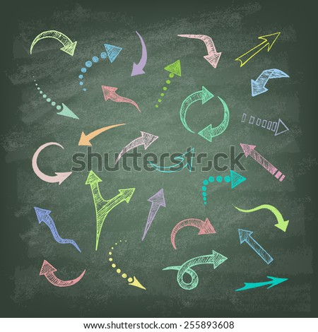 Vector hand drawn arrows icons set on the green blackboard. Abstract vector illustration. - stock vector