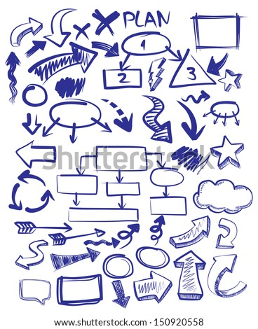vector hand drawn arrows icons set on white - stock vector