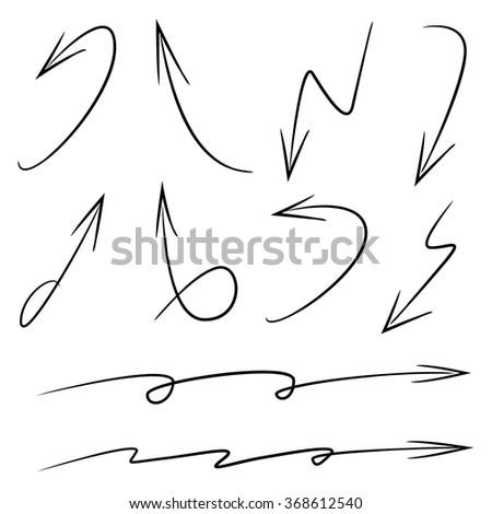 vector hand drawn arrows, isolated arrows, sketch arrow signs - stock vector