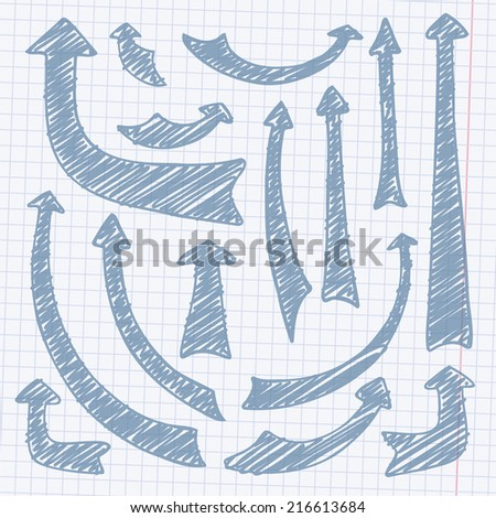 Vector hand drawn arrows on a paper - stock vector
