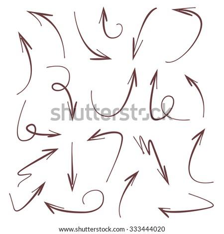 vector hand drawn arrows set - stock vector