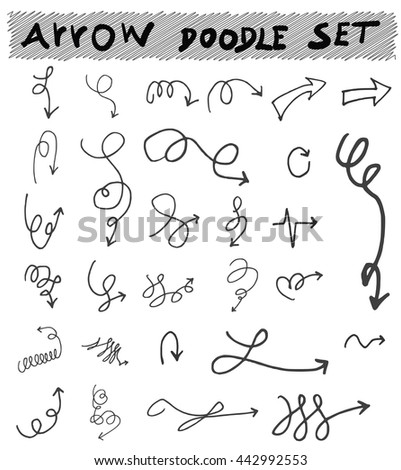 Vector hand drawn arrows set isolated on white
