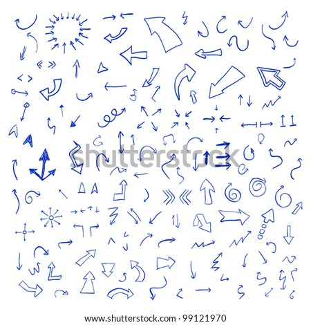 Vector hand drawn arrows set written with blue ink isolated on white background - stock vector