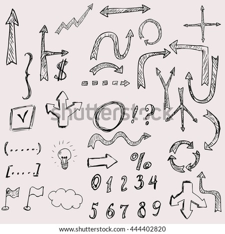 vector hand drawn arrows with numbers, flags, light bulb icon set.