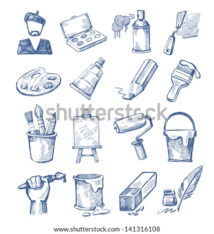 vector hand drawn art icons set on white - stock vector
