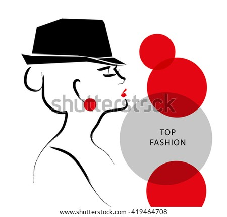 Vector hand drawn artistic flat young stylish girl in hat portrait. Fashion lady model sketch. Woman silhouette isolated on white background. Glamour, beauty illustration. - stock vector