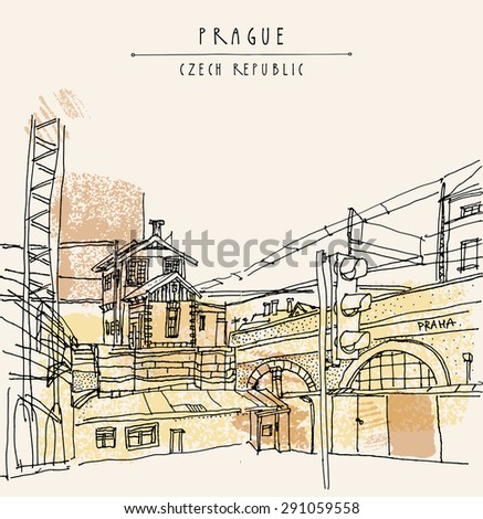Vector hand drawn artistic illustration of old industrial buildings near bus station in Prague, Czech republic, Europe. Steam punk postcard template. Grungy drawing industrial greeting card design