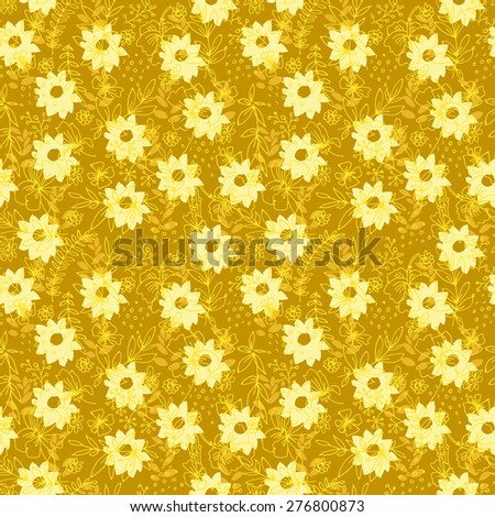 Vector hand drawn artistic seamless pattern with flowers and leaves in pastel retro colors, Endless texture for textile, wallpaper, wrapping paper, web design background. Floral vintage illustration