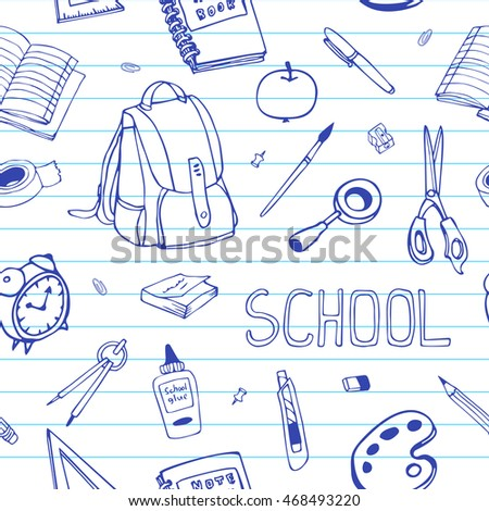vector hand drawn back to school seamless pattern school equipment doodles on ruled paper - School Papers To Print
