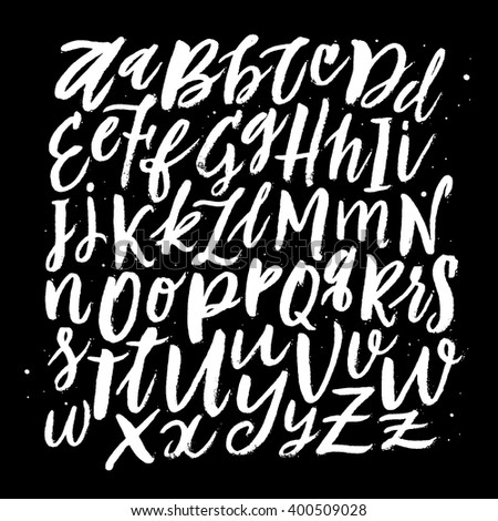 Vector Hand Drawn Background. Brush Painted Letters. Handwritten Script Alphabet. Hand Lettering and Custom Typography for  Designs: Logo, for Posters, Invitations, Cards, etc. Vector Illustrations. - stock vector