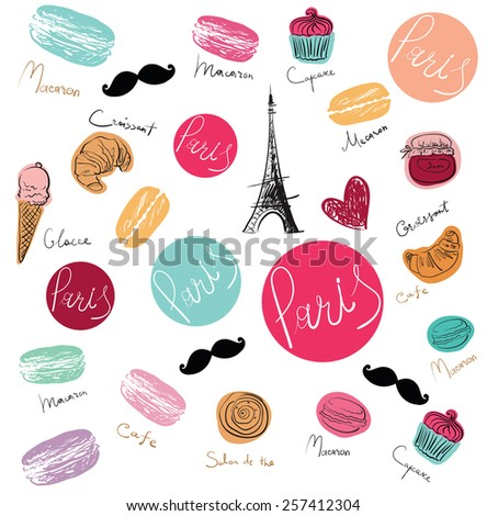 Vector hand drawn background with Paris symbols. - stock vector