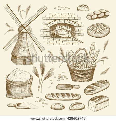Vector hand drawn bakery illustration collection. Windmill, oven, bread, basket, flour, wheat. - stock vector