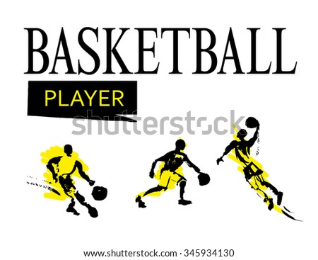 Vector hand drawn basketballer sketch set isolated on white backdrop. Ink drawing. Sportsman silhouette illustration. Sport logo, magazine, journal article, print design, poster, placard, advertising. - stock vector
