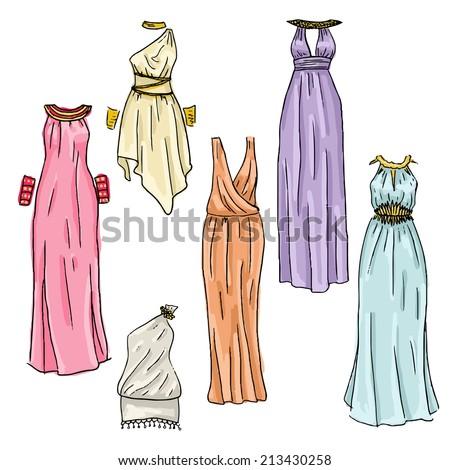 Vector hand drawn beautiful greek dresses - stock vector