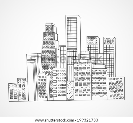 Vector hand drawn big city skyscrapers and buildings - stock vector